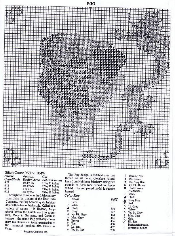 """Схема вышивки  """"Мопс и дракон """" ."""